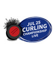 curling stone sport scoreboard spotlight vector image