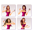 Fashion model is representing cosmetic collection vector image vector image