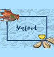 frame with hand drawn seafood elements vector image vector image