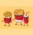 friends forever fries chicken fried and cola vector image