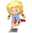 Girl looking at the tablet vector image vector image