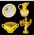 Greek old dishes and candlesticks four items vector image vector image