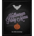 halloween menu chalkboard restaurant background vector image vector image