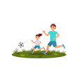 happy father playing football with his daughter on vector image vector image