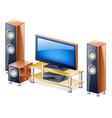 home theater system with tv and speakers vector image