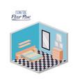 isometric floor plan of bedroom with double bed vector image vector image