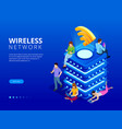 isometric modern server with wireless network vector image