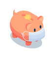 isometric piggy bank wearing medical face mask vector image