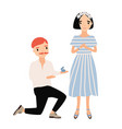 man standing on one knee in front of woman and vector image