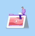 man with laptop interface of video player vector image vector image