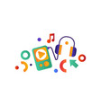 media player and headphones musical device vector image vector image