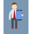 office worker showing a blank smart phone screen vector image vector image