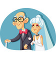 old bride and groom getting married vector image vector image