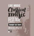 poster for festival of classical music with violin vector image vector image
