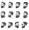 set bearded man head isolated on white vector image