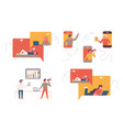 set business people flat icons flat style vector image