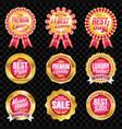 set excellent quality crimson badges vector image vector image