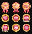 set of excellent quality crimson badges vector image vector image