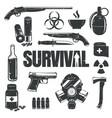 Set of icons on the theme of survival