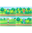 set of skateboarder training in green summer park vector image vector image