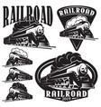 set templates with a locomotive vintage train vector image vector image
