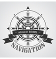 Ship steering wheel with banner vector image vector image