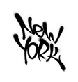 sprayed new york font graffiti with overspray in vector image vector image