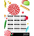 sweet candies 2019 year calendar poster vector image vector image
