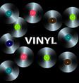 ten vinyl records on a black background vector image vector image