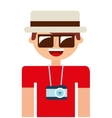 tourist man camera icon vector image vector image