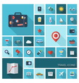 Travel icons with long shadow vector image vector image