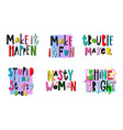 trouble maker shirt quote lettering set vector image