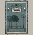 vintage colored city park poster vector image