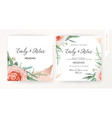 wedding square invite save date card design floral vector image