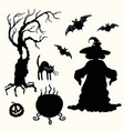 witch pumpkin lantern tree cat cauldron and vector image vector image