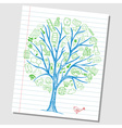 Social media doodle icons on tree vector image
