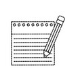 back to school notebook paper lined and pencil vector image
