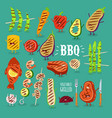 barbecue vegetables fish funny set vector image