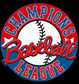 Baseball Champions league sign with ball vector image
