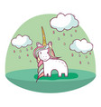 beautiful unicorn with long mane and nice land vector image vector image