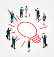 business people work for idea isomeric vector image vector image