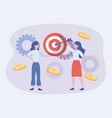 businesswomen and target with arrow and coins vector image vector image