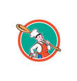 Chef Cook Marching Spoon Circle Cartoon vector image vector image