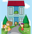 children infront of simple house vector image vector image