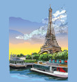 colorful hand drawing paris 3 vector image vector image