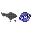 composition of halftone dotted map of bali island vector image vector image