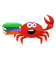 crab with books on white background vector image vector image