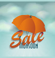 creative sale design of monsoon offer with 3d vector image vector image