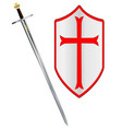 crusaders sword and shield vector image vector image