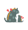 cute adult dragon with wings and small baby dragon vector image vector image